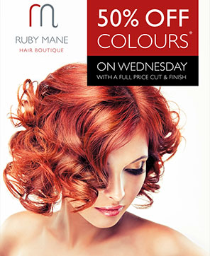 Wednesday Colour Day Discount Promotion Ruby Mane Top Hairdressers Farnham
