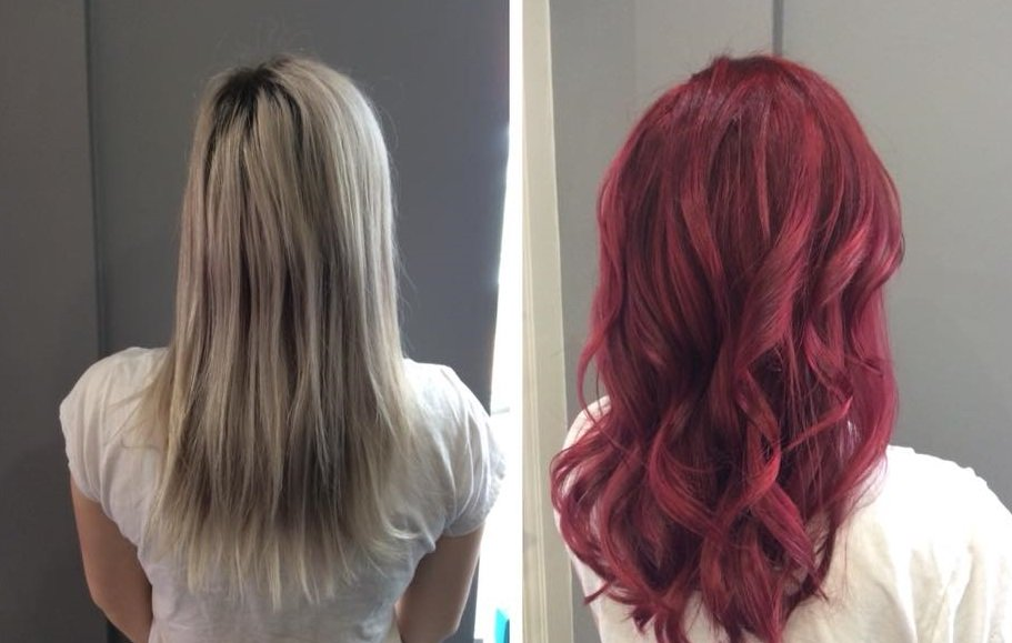 colour change from blonde to red, farnham hairdressing salon