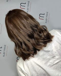 chocolate brown hair colour, ruby mane hair boutique, farnham, surrey