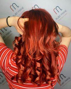 rich red hair colour, ruby mane hair salon, farnham, surrey