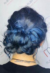 blue hair colour messy undone bun top hair salon in farnham