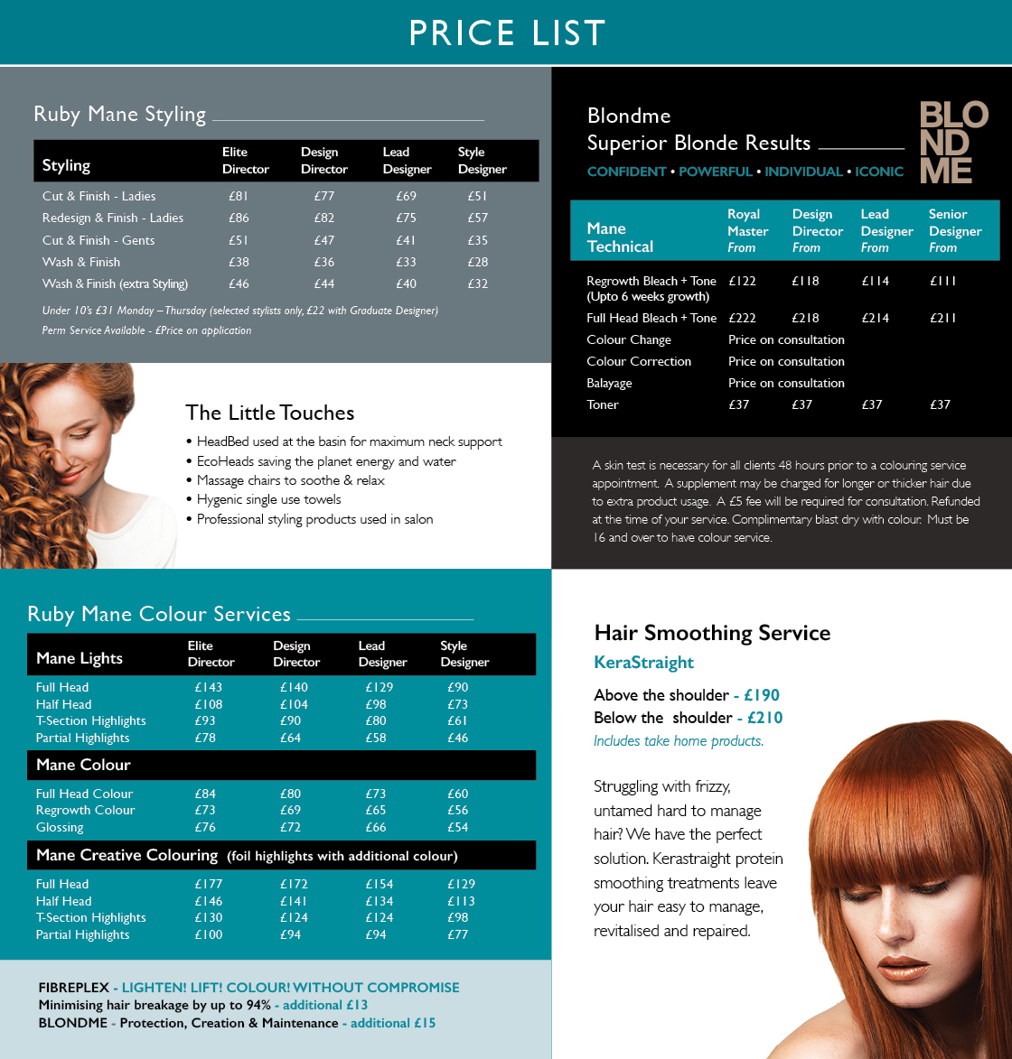 Ruby Mane Price List