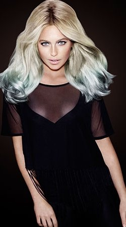 blonde hair with jade green colour